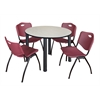 "Kee 48"" Round Breakroom Table- Maple/ Black & 4 'M' Stack Chairs- Burgundy"