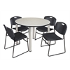 "Kee 48"" Round Breakroom Table- Maple/ Chrome & 4 Zeng Stack Chairs- Black"