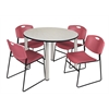 "Kee 48"" Round Breakroom Table- Maple/ Chrome & 4 Zeng Stack Chairs- Burgundy"