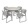 "Kee 48"" Round Breakroom Table- Maple/ Chrome & 4 Zeng Stack Chairs- Grey"