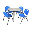 """Kee 48"""" Round Breakroom Table- Maple/ Chrome & 4 'M' Stack Chairs- Blue"""