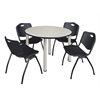 """Kee 48"""" Round Breakroom Table- Maple/ Chrome & 4 'M' Stack Chairs- Black"""