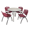 "Kee 48"" Round Breakroom Table- Maple/ Chrome & 4 'M' Stack Chairs- Burgundy"