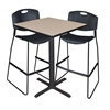 "Cain 30"" Square Café Table- Beige & 2 Zeng Stack Stools- Black"
