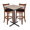 "30"" Square Café Table- Beige & 2 Zoe Café Stools- Cherry/Black"