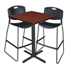 "Cain 30"" Square Café Table- Cherry & 2 Zeng Stack Stools- Black"
