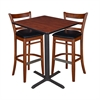 "30"" Square Café Table- Cherry & 2 Zoe Café Stools- Cherry/Black"