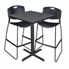 "Cain 30"" Square Café Table- Grey & 2 Zeng Stack Stools- Black"