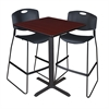 "Cain 30"" Square Café Table- Mahogany & 2 Zeng Stack Stools- Black"