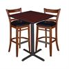 "30"" Square Café Table- Mahogany & 2 Zoe Café Stools- Cherry/Black"