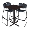 "Cain 30"" Square Café Table- Mocha Walnut & 2 Zeng Stack Stools- Black"