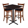 "30"" Square Café Table- Mocha Walnut & 2 Zoe Café Stools- Cherry/Black"