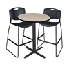 "Cain 30"" Round Café Table- Beige & 2 Zeng Stack Stools- Black"