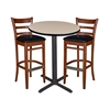 "30"" Round Café Table- Beige & 2 Zoe Café Stools- Cherry/Black"