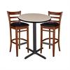 """30"""" Round Café Table- Beige & 2 Zoe Café Stools- Cherry/Black"""
