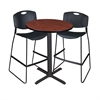 "Cain 30"" Round Café Table- Cherry & 2 Zeng Stack Stools- Black"