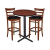 "30"" Round Café Table- Cherry & 2 Zoe Café Stools- Cherry/Black"