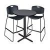 "Cain 30"" Round Café Table- Grey & 2 Zeng Stack Stools- Black"
