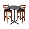 "30"" Round Café Table- Grey & 2 Zoe Café Stools- Cherry/Black"