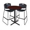 """Cain 30"""" Round Café Table- Mahogany & 2 Zeng Stack Stools- Black"""