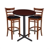 "30"" Round Café Table- Mahogany & 2 Zoe Café Stools- Cherry/Black"