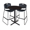 "Cain 30"" Round Café Table- Mocha Walnut & 2 Zeng Stack Stools- Black"