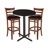 "30"" Round Café Table- Mocha Walnut & 2 Zoe Café Stools- Cherry/Black"