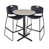 "Cain 30"" Round Café Table- Maple & 2 Zeng Stack Stools- Black"