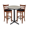 "30"" Round Café Table- Maple & 2 Zoe Café Stools- Cherry/Black"