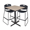 "Cain 36"" Square Café Table- Beige & 2 Zeng Stack Stools- Black"