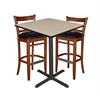 "36"" Square Café Table- Beige & 2 Zoe Café Stools- Cherry/Black"