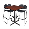 "Cain 36"" Square Café Table- Cherry & 2 Zeng Stack Stools- Black"