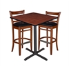 "36"" Square Café Table- Cherry & 2 Zoe Café Stools- Cherry/Black"