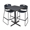 "Cain 36"" Square Café Table- Grey & 2 Zeng Stack Stools- Black"