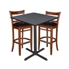 "36"" Square Café Table- Grey & 2 Zoe Café Stools- Cherry/Black"