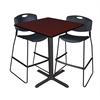"Cain 36"" Square Café Table- Mahogany & 2 Zeng Stack Stools- Black"