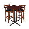 "36"" Square Café Table- Mahogany & 2 Zoe Café Stools- Cherry/Black"