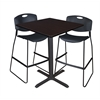 "Cain 36"" Square Café Table- Mocha Walnut & 2 Zeng Stack Stools- Black"