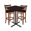"36"" Square Café Table- Mocha Walnut & 2 Zoe Café Stools- Cherry/Black"