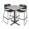 "Cain 36"" Square Café Table- Maple & 2 Zeng Stack Stools- Black"