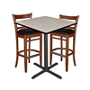 "36"" Square Café Table- Maple & 2 Zoe Café Stools- Cherry/Black"