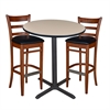 "36"" Round Café Table- Beige & 2 Zoe Café Stools- Cherry/Black"