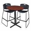 "Cain 36"" Round Café Table- Cherry & 2 Zeng Stack Stools- Black"