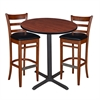 "36"" Round Café Table- Cherry & 2 Zoe Café Stools- Cherry/Black"