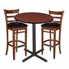 "36"" Round Café Table- Cherry & 2 Zoe Café Stools- Cherry/Black"