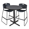 "Cain 36"" Round Café Table- Grey & 2 Zeng Stack Stools- Black"
