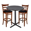 "36"" Round Café Table- Grey & 2 Zoe Café Stools- Cherry/Black"