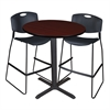 "Cain 36"" Round Café Table- Mahogany & 2 Zeng Stack Stools- Black"