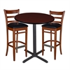 "36"" Round Café Table- Mahogany & 2 Zoe Café Stools- Cherry/Black"