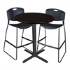 "Cain 36"" Round Café Table- Mocha Walnut & 2 Zeng Stack Stools- Black"